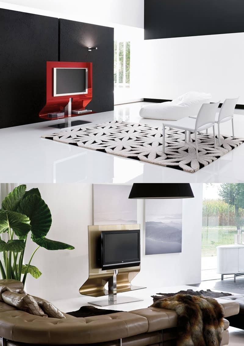 ODEON, Porta TV orientabile, in acciaio e vetro