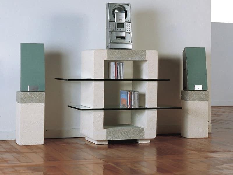 Phono Porta CD, Mobile in pietra per la casa, con ripiani in vetro