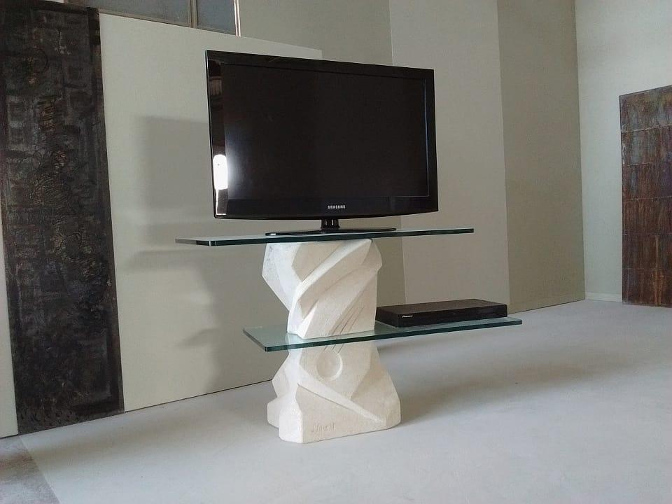 Porta Tv Cristallo Design.Porta Tv Con Piani In Cristallo Orientabili Idfdesign