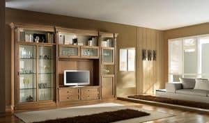 R 12, Mobile porta tv in ciliegio, con porte scorrevoli