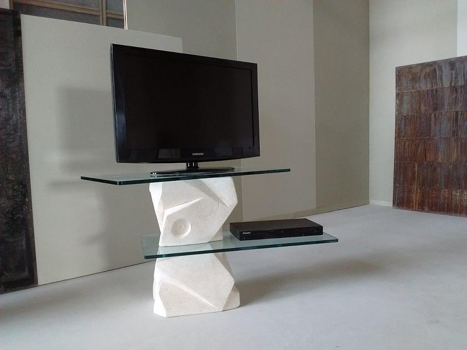 Mobili E Supporti Tv.Porta Tv In Pietra Scolpita Idfdesign