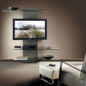 Slide TV holder, Porta tv con libreria, in laminato e vetro