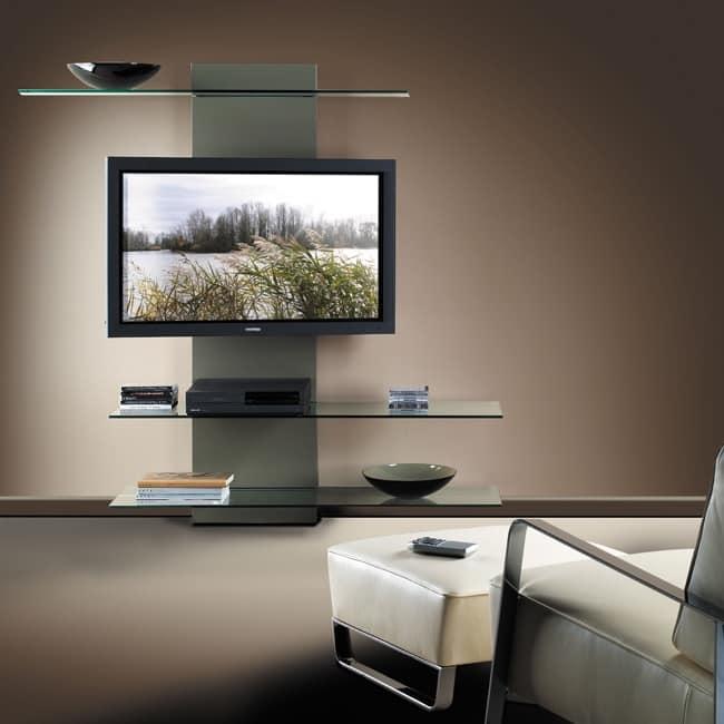 Porta Tv Vetro E Acciaio.Porta Tv Con Libreria In Laminato E Vetro Idfdesign