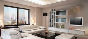 ST 7, Mobile porta tv con libreria, vetrine e contenitori