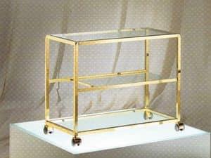 Tavolino in ottone antichizzato con piano in vetro idfdesign - Porta televisore in vetro ...