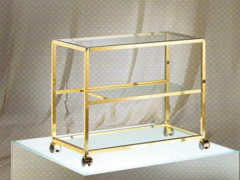 Porta televisore in ottone e vetro per camere d 39 albergo idfdesign - Porta televisore in vetro ...