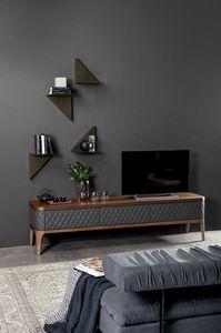 TIFFANY  porta-tv, Porta-tv in legno con ante in pelle trapuntate a mano