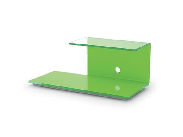 Mobile per televisore in cristallo con ruote nascoste per camera idfdesign - Porta televisore in vetro ...