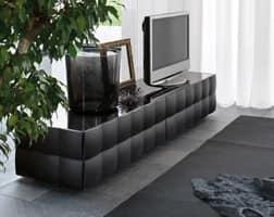 VENICE porta tv, Porta televisore con 2 cassetti, in laminato rivestito PVC