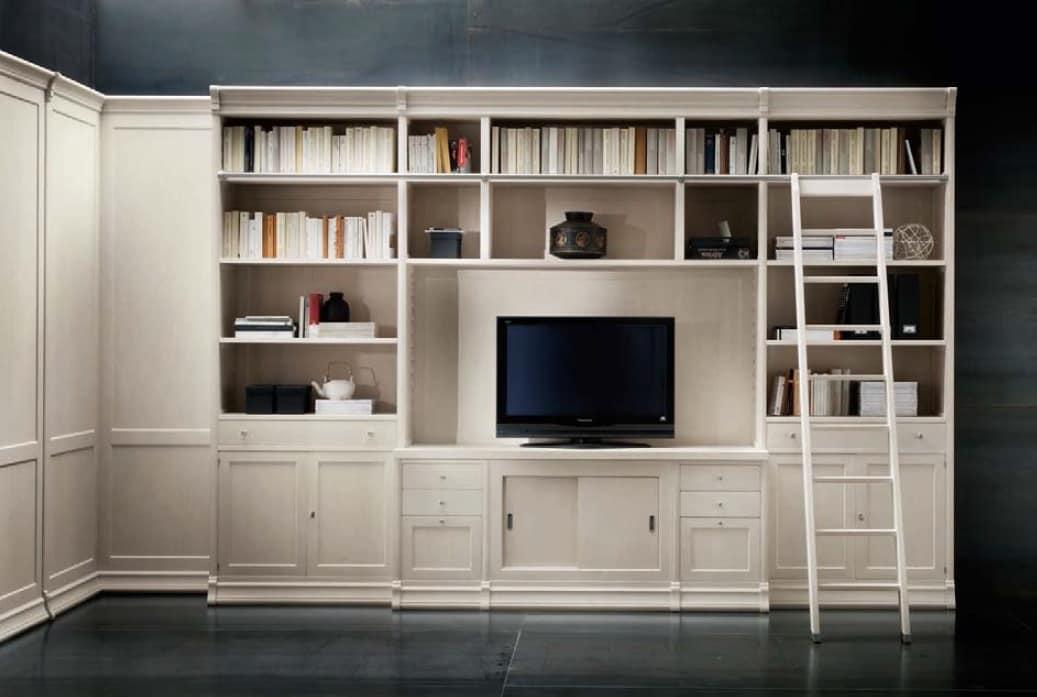 Libreria con vano tv e scaletta, per uffici e salotti | IDFdesign