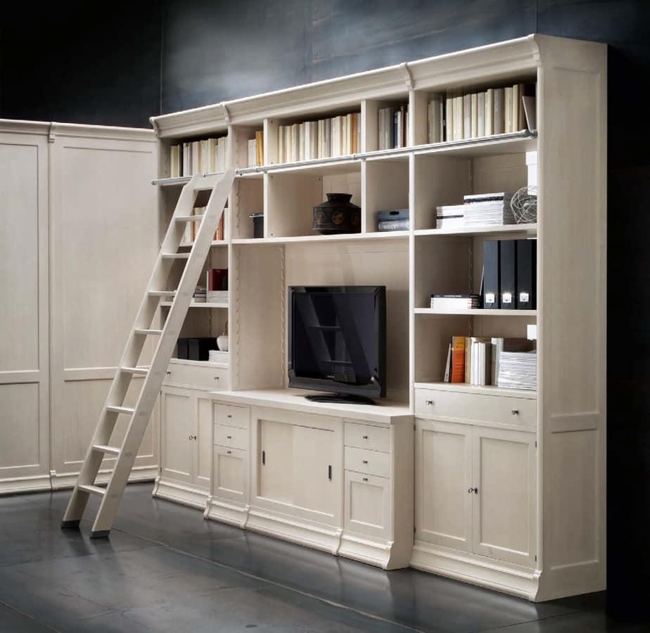 Libreria con vano tv e scaletta per uffici e salotti idfdesign - Mobili per televisore ...