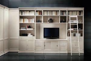 Victoria Art. 03.005, Libreria con vano tv e scaletta, per uffici e salotti