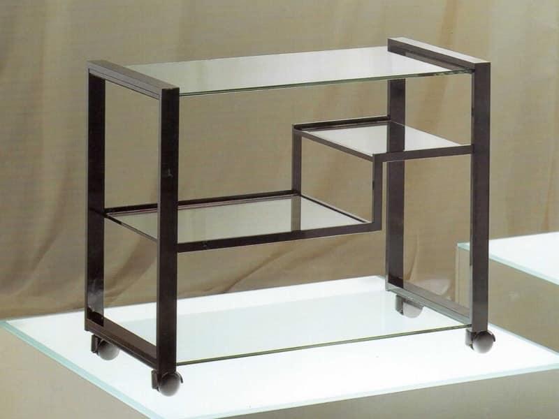 Carrello porta televisione in ottone acciaio e vetro idfdesign - Porta televisore in vetro ...