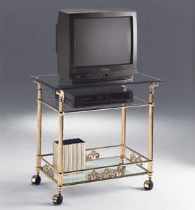 VIVALDI 1078, Porta TV in ottone, con ruote, per alberghi eleganti