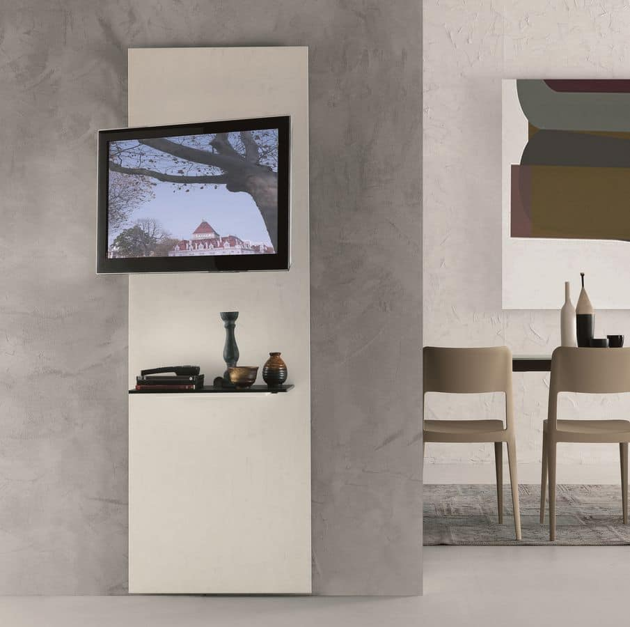 Mobile porta TV in cristallo con mensola, orientabile a 180° | IDFdesign