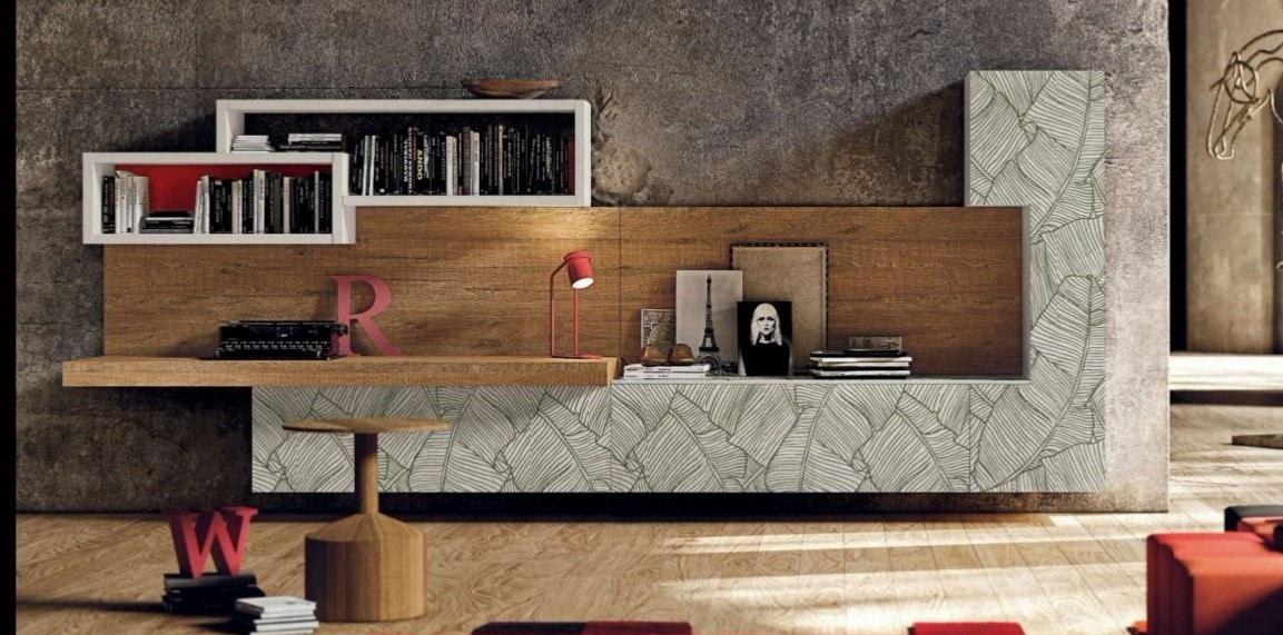 002 MOBILE A PARETE, Elegante mobile da soggiorno, con ante con decori a foglia