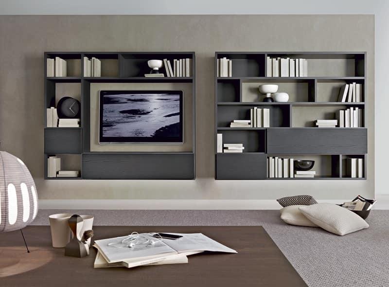 sistema giorno, arredo soggiorno, mobili alto design soggiorno, zona ...