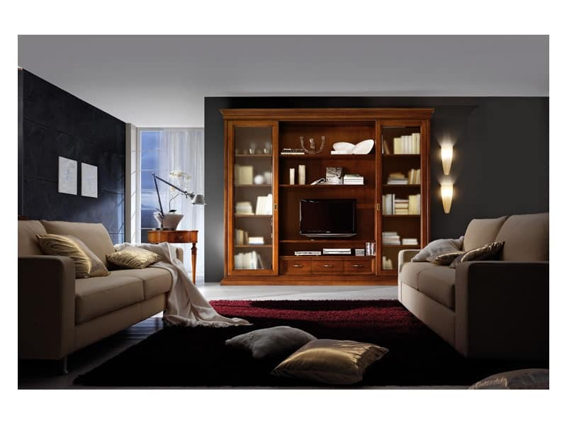 Art.0777/L, Parete soggiorno in legno, stile classico