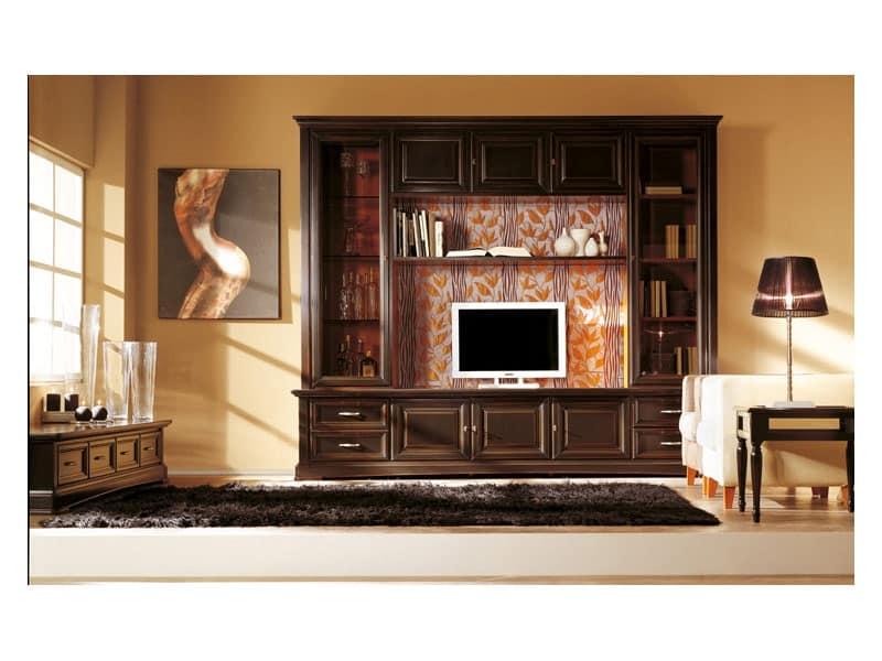 Parete soggiorno in stile classico, in legno massello ...