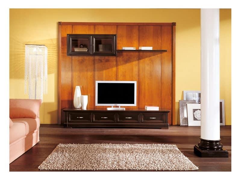 Mobile basso da soggiorno con pensili, stile classico  IDFdesign