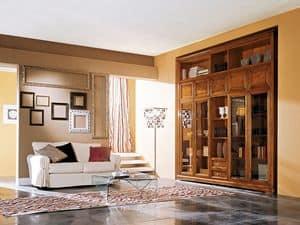 Art.110/L, Mobile in legno per soggiorno con ante in vetro