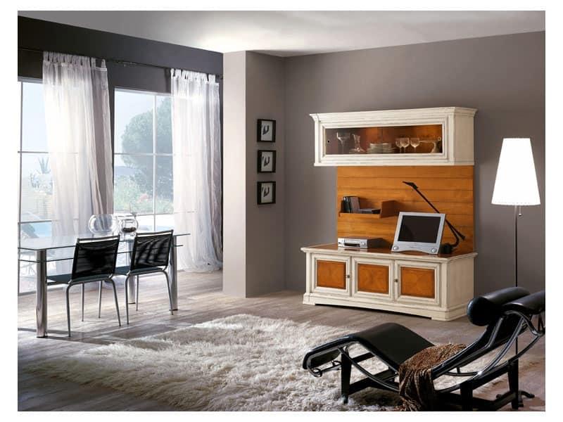 Mobile da soggiorno in legno massello con ante in vetro for Mobile soggiorno vetro