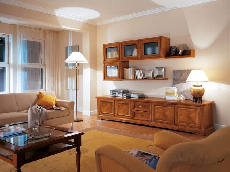 mobile da salotto con pensili e cassetti in legno idfdesign On pensili salotto