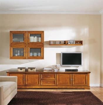 Mobile da soggiorno in stile classico, in legno massello | IDFdesign