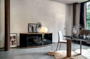 ASIA, Madia in legno con ante in vetro curvo per sala da pranzo o soggiorno