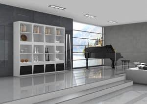 Aurora, Scaffalatura con ripiani in legno e base con cassetti