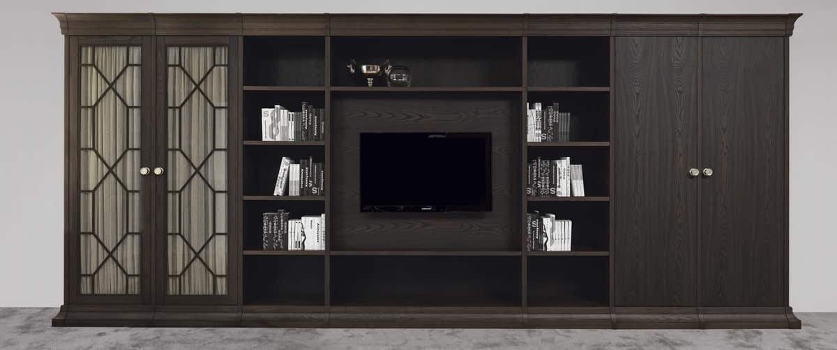 Sistema modulare con ante in legno e vetro idfdesign for Galimberti case legno