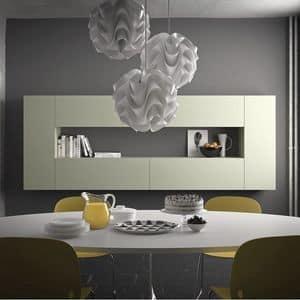 Spazio S307, Scaffale modulare, in pietra, vetro, alluminio, legno