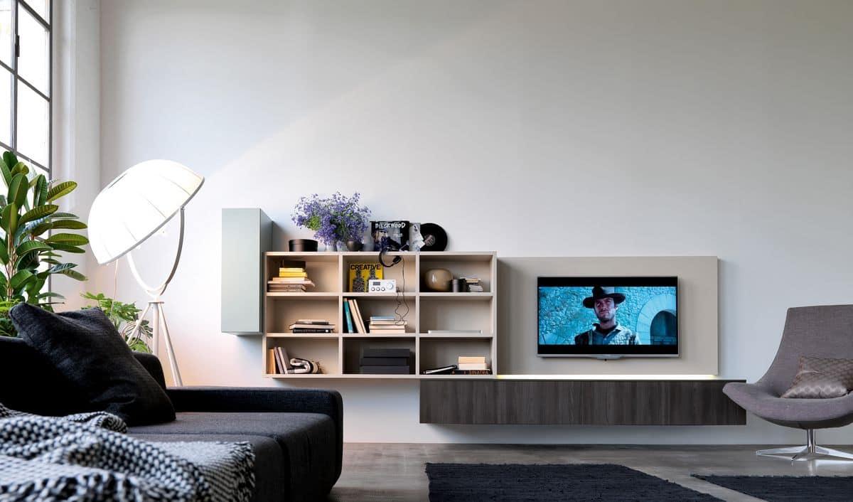 Sistema modulare moderno per salotti con luci led idfdesign - Luci soggiorno moderno ...
