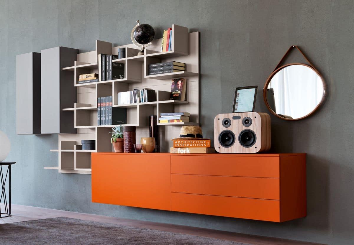 Sistema modulare per salotto moderno con libreria idfdesign for Mobili di design a basso costo