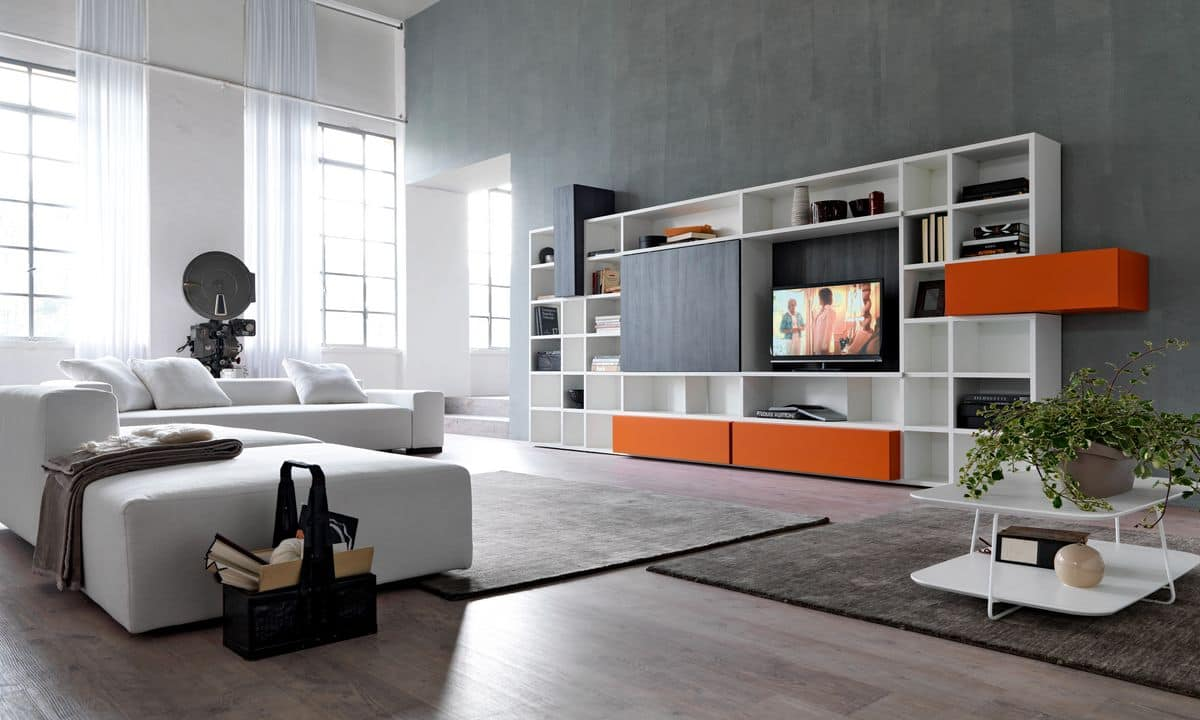 Salotti Moderni Immagini : Libreria con elemento porta tv per salotti moderni idfdesign