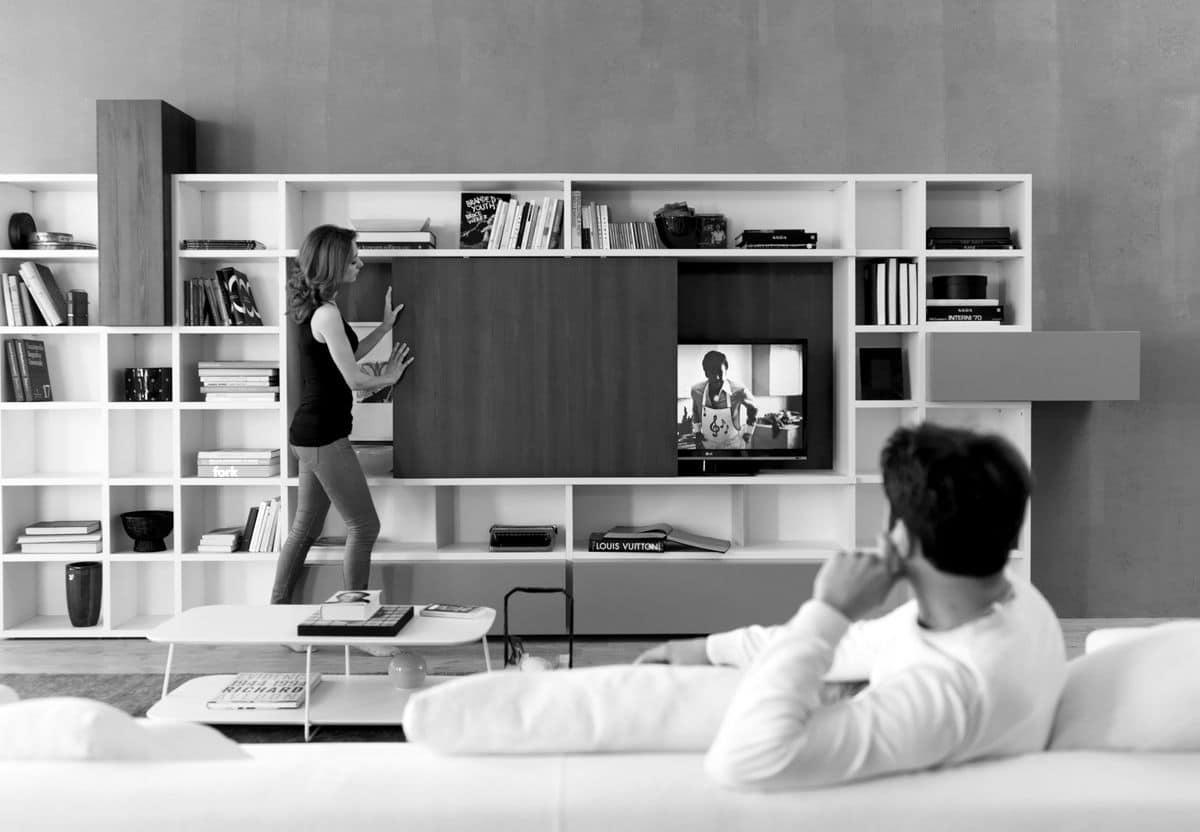 Libreria con elemento porta tv per salotti moderni for Armadi per salotti