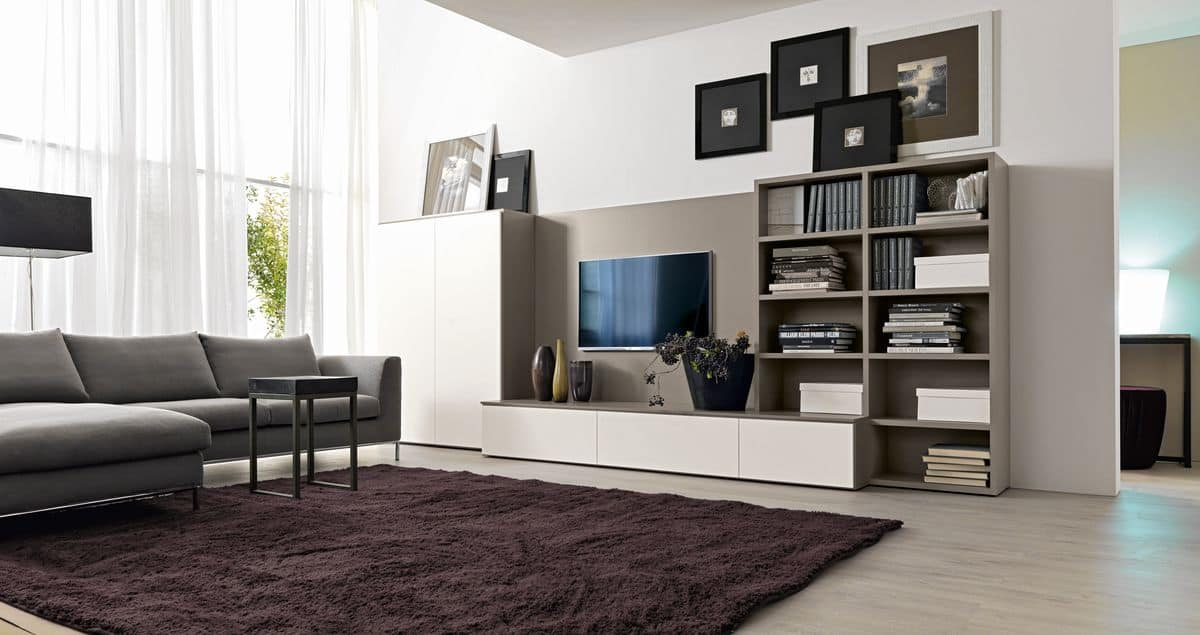 Sistema arredo per salotti con supporto per tv idfdesign for Salotti mobili moderni
