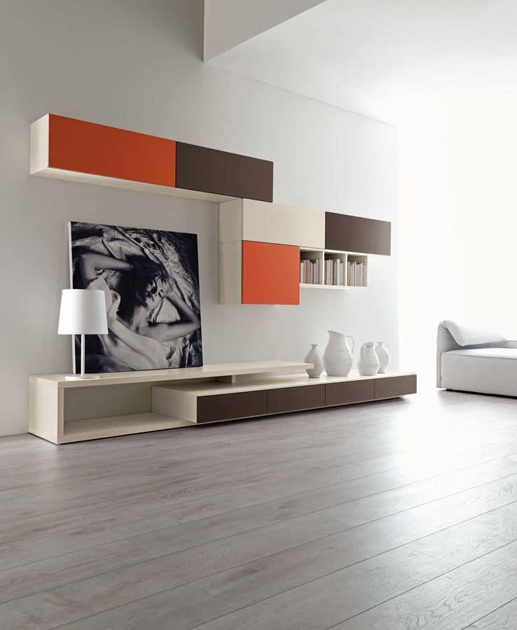 Composizione moderna per salotto, con mobili pensili | IDFdesign