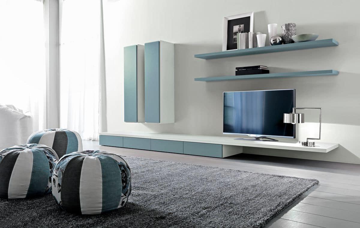 Sistema modulare per salotto, con mensole e armadi | IDFdesign