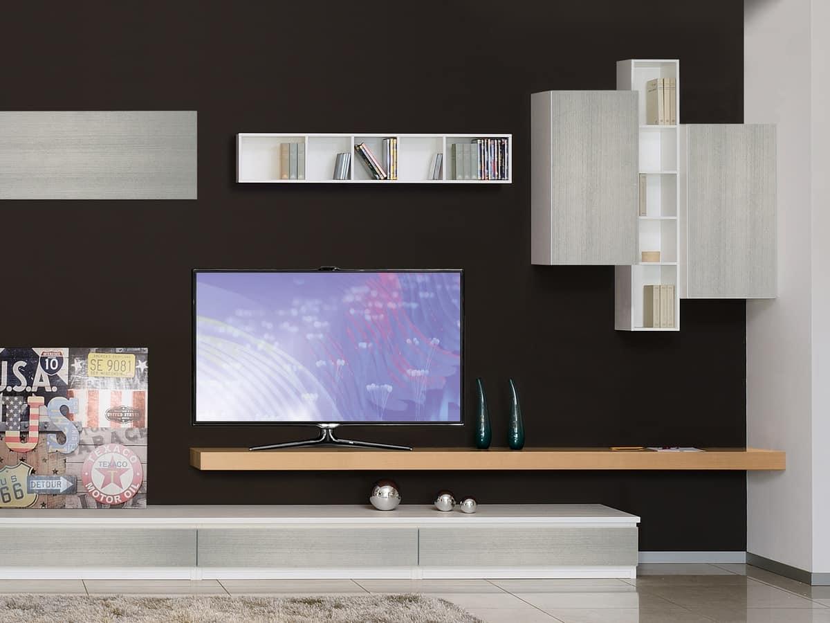 Mobili per soggiorno con librerie e porta tv idfdesign for Mobile sala