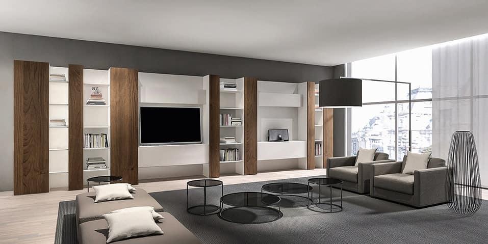 Libreria moderna per soggiorno, con mobile tv e mensole | IDFdesign
