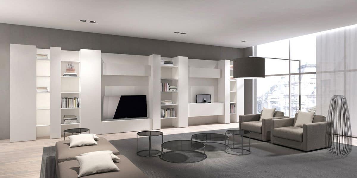 composizione libreria e porta tv per salotto moderno. Black Bedroom Furniture Sets. Home Design Ideas