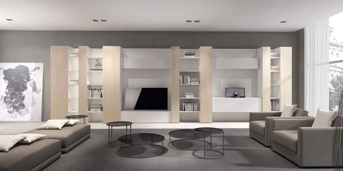 Mobili contenitori per salotto moderni con mensole for Mobili contenitori design
