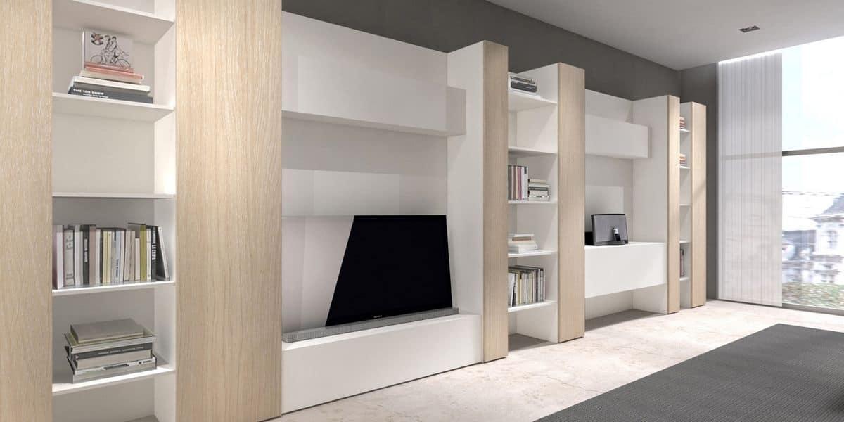 ... comp.11, Libreria e porta tv, alternanza di elementi aperti e chiusi