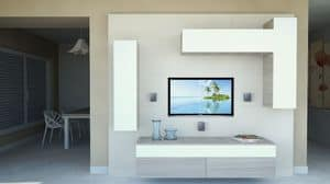 DayWall 102, Mobile soggiorno con pensili in laccato bianco