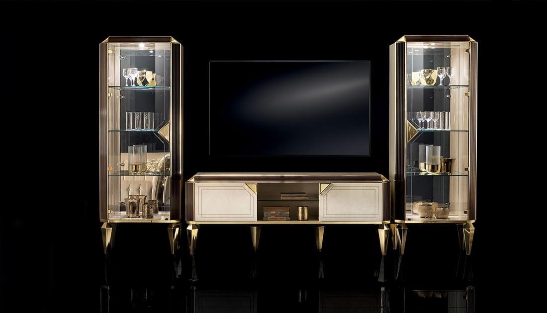 DIAMANTE composizione TV 15, Mobile da salotto con vetrine