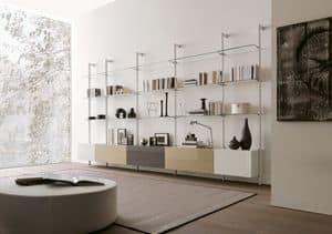 dl300 dublino, Mobile per salotto in cristallo e melaminico, per salotto moderno