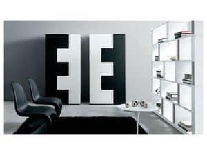 E-BOX comp.01, Mobile con ante per la casa e l'ufficio, design dinamico