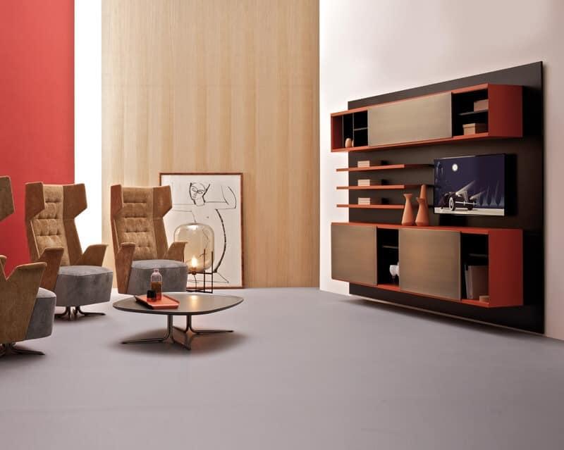 Sistema modulare per arredo salotto, libreria componibile in legno ...