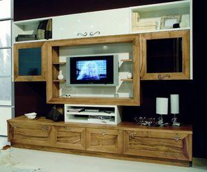 Elios 118, Mobile da soggiorno, in noce e laccato bianco